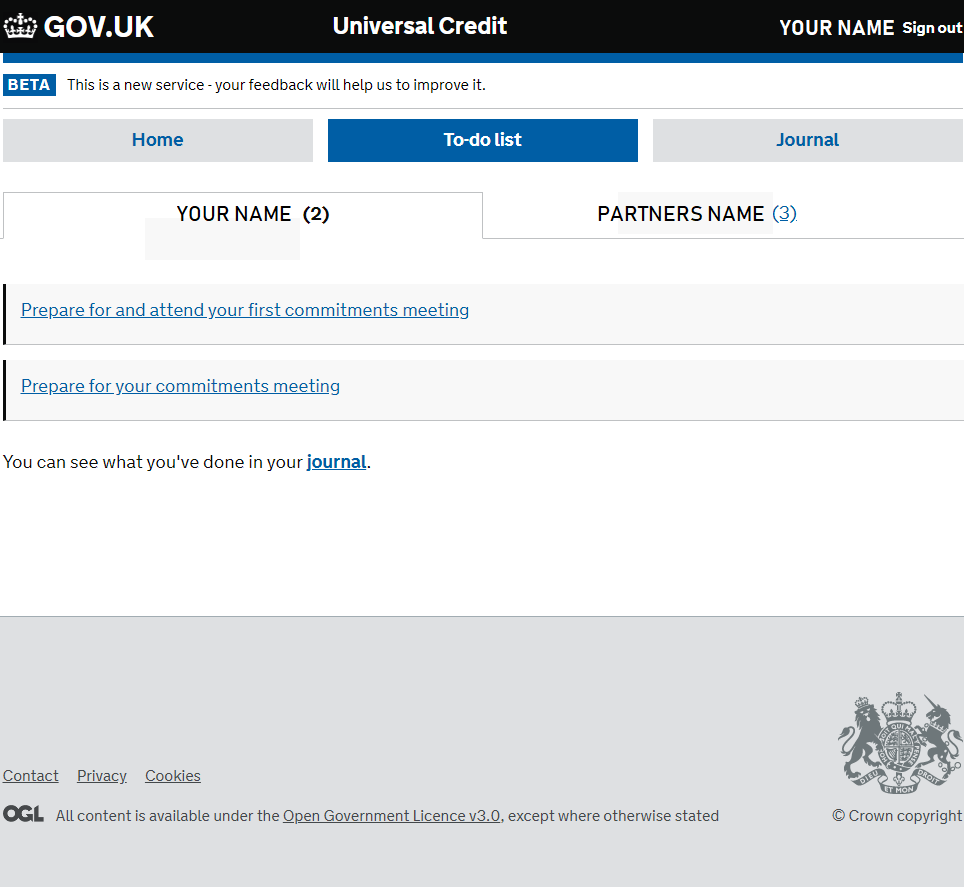 Universal Credit Journal Guide