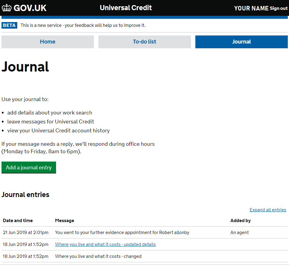 Universal Credit Journal