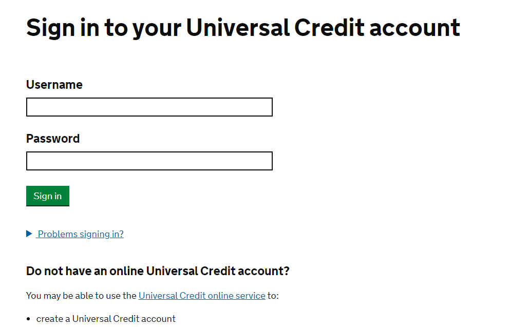 Sign into universal credit